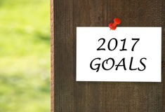 2017 goals inscription on white note paper with a wooden background Royalty Free Stock Image