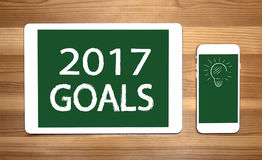 Goals 2017 with lamp sing. On the tablet and phote Stock Photography