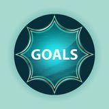 Goals magical glassy sunburst blue button sky blue background stock illustration