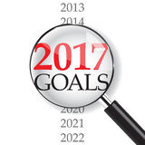 2017 goals with magnifer. On white background Stock Illustration