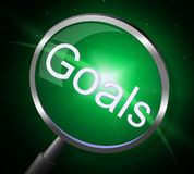Goals Magnifier Indicates Magnifying Aspirations And Desires. Goals Magnifier Showing Target Magnify And Search vector illustration