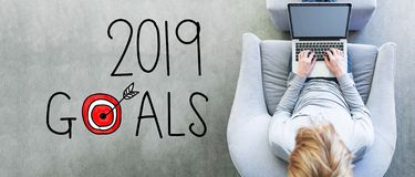 2019 Goals with man using a laptop royalty free stock images