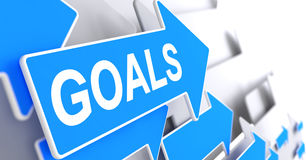 Goals - Message on the Blue Pointer. 3D. Goals, Message on the Blue Cursor. Goals - Blue Arrow with a Label Indicates the Direction of Movement. 3D Render Stock Photography