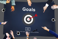 Goals Mission Objectives Target Graphics Concept. Goal Oriented Business People Planning Meeting Concept Royalty Free Stock Image