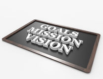 Goals-Mission-Vision 3d word concept. On blackboard.  white background Stock Images