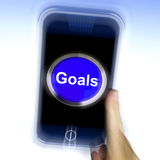 Goals On Mobile Phone Shows Aims Objectives Or Aspirations. Goals On Mobile Phone Showing Aims Objectives Or Aspirations vector illustration
