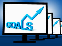 Goals On Monitors Showing Company's Targets Royalty Free Stock Images