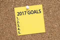 Goals for 2017 new year list. New year 2017 goals, aspirations, plans concept in office stock photography