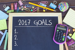 Goals for new year 2017 list concept. Goals, aspirations, resolutions, plans for new year 2017 list in office on chalkboard stock photo
