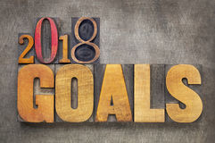 2018 goals banner in wood type goals in letterpress wood type. 2018 goals - New Year resolution concept - word abstract in vintage letterpress wood type blocks royalty free stock images