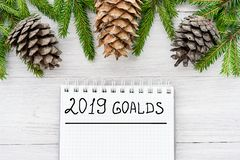 Goals for 2019. New Year`s composition view from above Stock Images