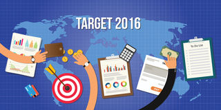 Goals for new year 2016 target and achievement Stock Images