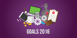 Goals for new year 2016 target. And achievement progress vector illustration