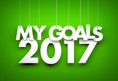 Goals in new year 2017 - word hanging on orange background. 3d illustration Stock Photography