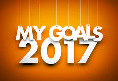 Goals in new year 2017 - word hanging on orange background. 3d illustration Stock Image