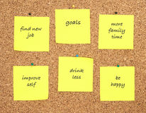 Goals for new year written on yellow sticker notes Royalty Free Stock Image