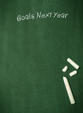 Goals Next Year. On a blackboard with chalk and space for text or image Royalty Free Stock Photography