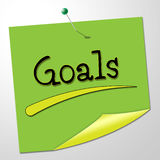 Goals Note Shows Aspire Message And Targeting. Goals Note Indicating Wishes Inspiration And Target stock illustration