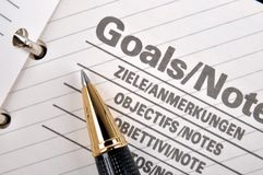Goals page in notebook Stock Photos