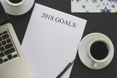 2018 goals paper,pen,white coffee cups stock photography