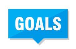 Goals price tag. Goals blue square price tag vector illustration