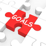 Goals Puzzle Showing Aspiration Targets. And Missions Royalty Free Stock Images