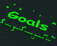 Goals Puzzle Showing Aspirations And Objectives Stock Images