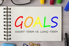 Goals,Short-term and Long-term. GOALS,SHORT-TERM VS. LONG-TERM written in notebook on wooden desk with marker pen and glasses. Top view Stock Photo