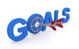 Goals sign. Illustrated blue goals sign with arrows in the target stock image