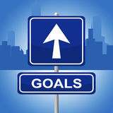 Goals Sign Means Advertisement Aspirations And Inspiration. Goals Sign Indicating Target Direction And Arrows stock illustration
