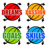 Goals and skills. Having a positive attitude in life and career Stock Images