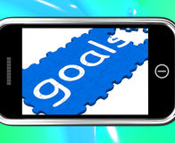 Goals On Smartphone Showing Future Aspirations. And Targets royalty free illustration