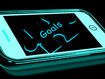 Goals Smartphone Shows Aims Objectives And Targets Royalty Free Stock Photography