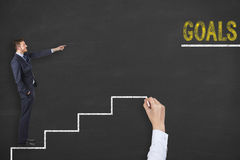 Goals Stairs on Blackboard Royalty Free Stock Image