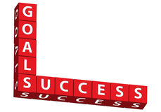 Goals and Success. Red blocks spelling goals and success on a white background, goals and success Royalty Free Stock Photography