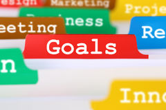 Goals or targets business concept office text on register docume Royalty Free Stock Photos