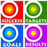 Goals and targets. Colorful icons for goals, targets, results and success in life and career Royalty Free Stock Image