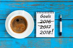 Goals 2018. Targets, goal, dreams and New Year`s promises for the next year with strikeout numbers of 2016 and 2017 last. Years. Procrastination concept Stock Photos