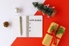 2019 goals text on note pad cup stock photo