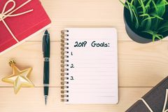 2019 goals text on notepad royalty free stock photo