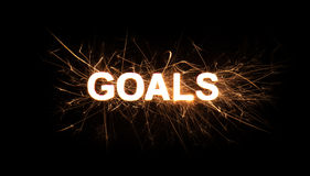 GOALS title word in glowing sparkler Royalty Free Stock Photos