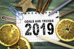 Goals and trends 2019. Christmas and holiday background royalty free stock images
