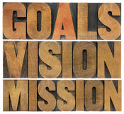 Goals, vision and mission Royalty Free Stock Photo