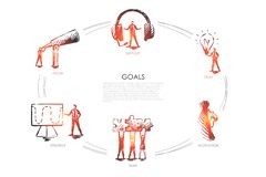 Goals - vision, support, team, strategy, motivation set concept. stock illustration