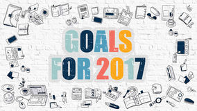 Goals for 2017 on White Brick Wall. Stock Images