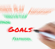 Goals on Whiteboard Displays Targets Aims and Objectives. Goals on Whiteboard Displaying Targets Aims and Objectives Stock Photography