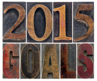 2015 goals in wood type Stock Photography