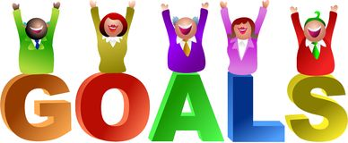 Goals word. Joy in achieving goals - icon people series stock illustration