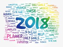 2018 Goals word cloud business concept. Background Stock Photo