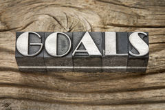 Goals word in metal type Royalty Free Stock Photo
